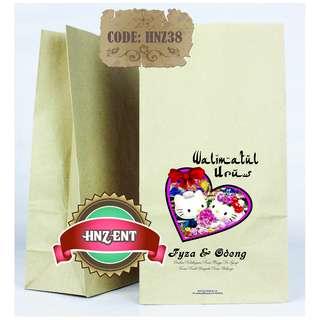 Personalized Paper bag Bercetak untuk Majlis Perkahwinan HNZ38 100pcs 1 pack