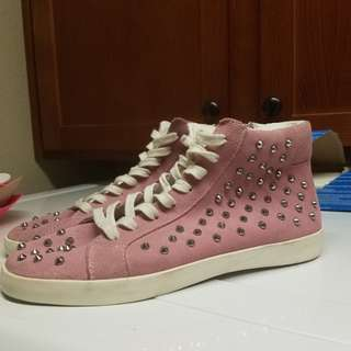 Steve Madden Pink Studded Sneakers Size 9