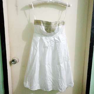 Tube White Dress with Gold details