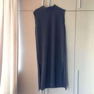 灰色針織開岔長裙