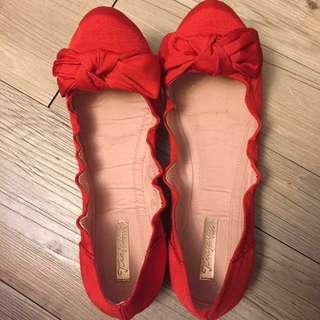 Zara紅色娃娃鞋 40號
