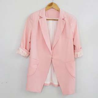 Korean Fashion Style Pink Long Blazer Coat with Lace Details