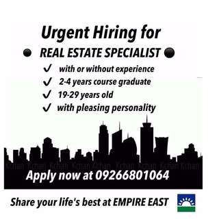 Very Urgent!! Hiring for Real Estate Specialist