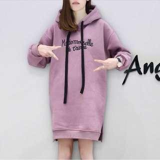 中長版連帽上衣 淺紫色 S號