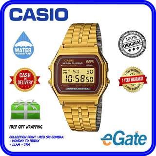 CASIO A159WGEA-5DF Unisex Digital Alarm Chrono Gold Stainless Steel Ori Watch