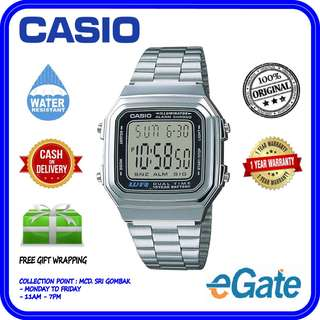 Casio A178WA-1ADF Unisex Digital Vintage Series Stainless Steel Original Watch
