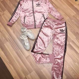 Velour adidas track suit
