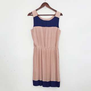 Korean Fashion Style Rose Beige & Blue Pleated Sleeveless Dress