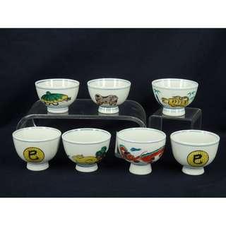 鼠、牛、虎、兔、龍、巳(蛇)x2 - $400 七只茶杯 / $70只