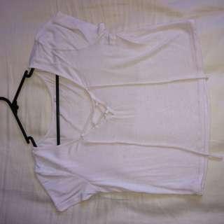 White tie front tshirt