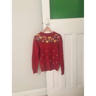 Vintage Red Floral Embroidered Jumper