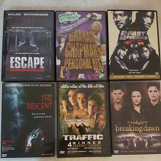 DVD movies $3 each. $12 for all