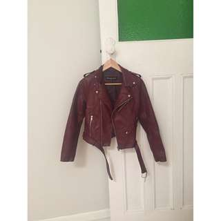Princess Polly Burgundy Faux Leather Moto Jacket