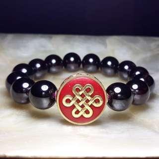 Garnet Bracelet with Mystic Knot