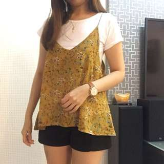 Yellow Floral top with white inner tee