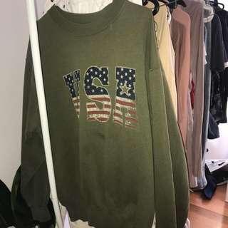 oversized USA khaki vintage jumper crewneck