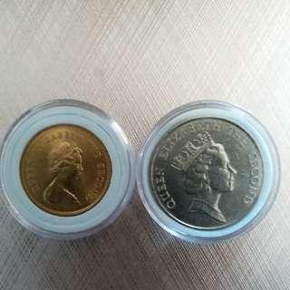 香港硬幣 女王頭 👉5元1987年👉全新5毫1980年共2個