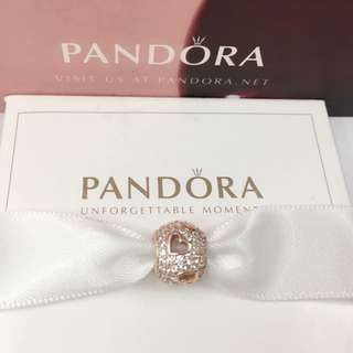 Authentic Pandora Charm Heart Charm 92.5 Sterling Silver Saudi Gold 18K (Not Pawnable)