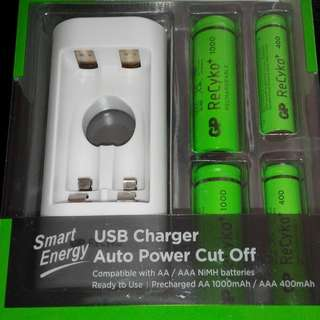 GP USB Charger with 4 Rechargeable Batteries