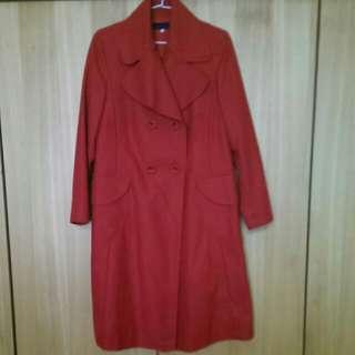 Kenzo紅色毛料長大衣