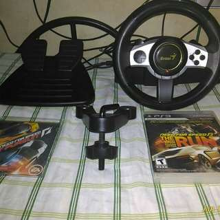 PS3 Genius Trio Racer F1 Wheel with free 2 Ps3 Game.