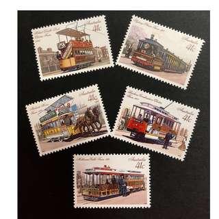 澳洲不同時期路軌電車紀念郵票。一套,全新