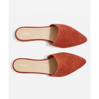 Topshop 橘棕磚紅色尖頭穆勒鞋