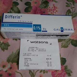 Differin Gel 0.1% Adapalene For Acne