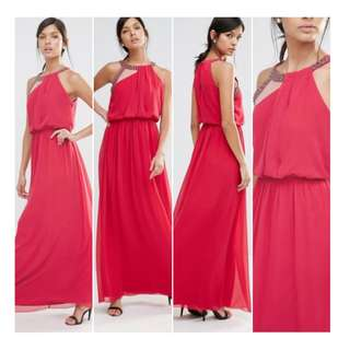 Little Mistress London Maxi Dinner/ Prom Dress with Embellished Neckline Cherry