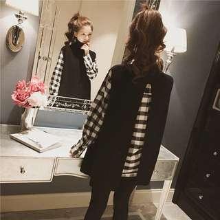 韓版兩件式套裝長袖襯衫上衣斗篷上衣開叉背心連身裙洋裝