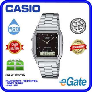 Casio AQ-230A-1D Unisex Analog Digital Stainless Steel Black Dial Original Watch