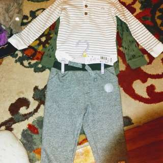 Baby boys brand new two fleece joggers and two long sleeves oneise