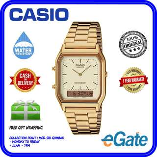 Casio AQ-230GA-9B Unisex Analog Digital Gold Stainless Steel Original Watcth