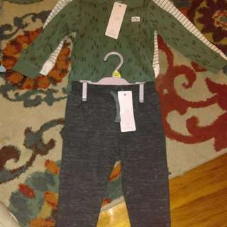 Brand new baby boy two pairs joggers two long sleeves oneies