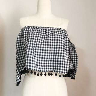 Black gingham off shoulder top
