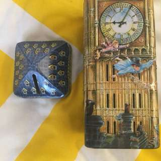 London & Peter Pan themed money box tins for sale