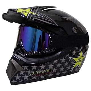 Black Star Yellow Rockstar GTA Full Face Motorcycle Helmet Scrambler Motorcross Motocross Scrambler Off Road Dirt Bike