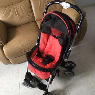 A black and red reversible Capella Stroller