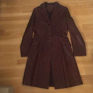 Vintage genuine leather coat 古著真皮中褸