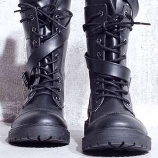 🚚 繞帶中筒靴/尺碼39(適合腳長24-24.5)