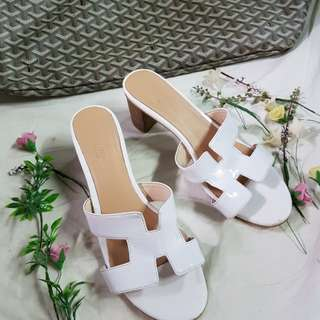 Hermes Oasis White Patent Leather Chunky Heel Sandals Size 37