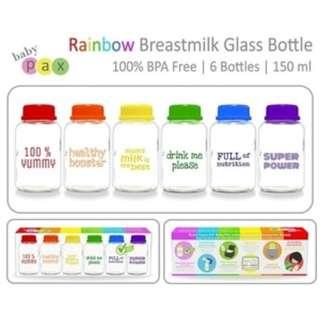 Preloved Botol Kaca ASI Baby Pax - Rainbow 6in1 / BPA Free
