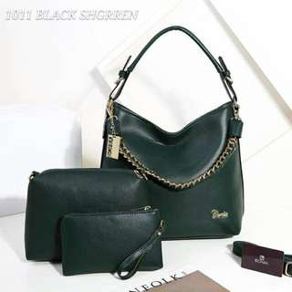 Bonia Hobo 3 in 1 Bags Green Color