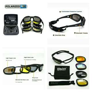 🆕🆒4 lenses Goggles Tactical Eyewear Eye Protection For Airsoft UV400 Glasses😎 ✔ Used By Motorcyclist, Cyclist And Drivers To Keep Harmful UV🌞rays at bay ✔Made Of Acetate - Strong, Light And Flexible, Padded