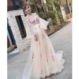 Gown Collection - Romance Off Shoulder Design Floral Creamy Gown