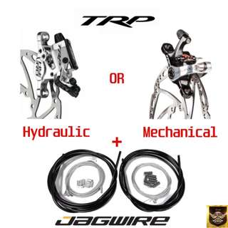 TRP HY-RD(Hydraulic) or TRP Spyre (Mechanical) Brakes + Jagwire Housing & Cables Installation Package for Escooter