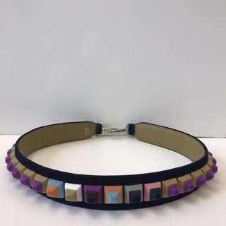 Fendi Strap You Studded Velvet Shoulder Strap