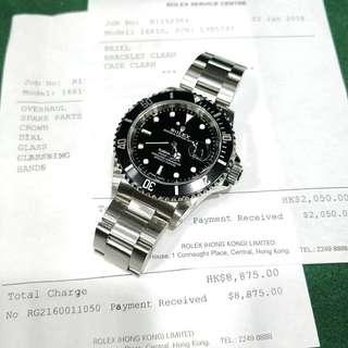 Rolex 16610 黑十 連上行紙 已用$10925做全套服務  狀態如新錶一樣 有原廠保養 長青保值款
