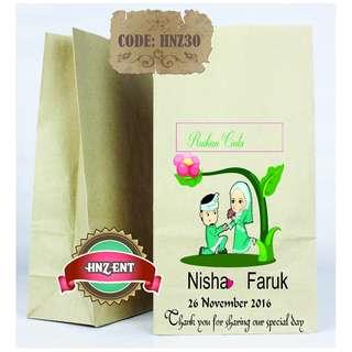 Personalized Paper bag Bercetak untuk Majlis Perkahwinan HNZ30 100pcs 1 pack
