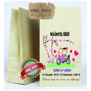 Personalized Paper bag Bercetak untuk Majlis Perkahwinan HNZ31 100pcs 1 pack
